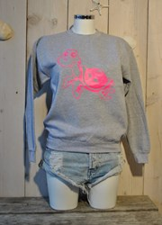 TUR TL Sweater - Sports grey- Neon Pink