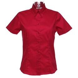 DAMES BLOUSE OXFORD korte mouw (Kustom Kit)