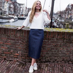 Denim Kokerrok met stretch voering