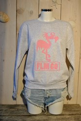 FLM GO Flamingo Sweater- Ash grey- Baby Pink