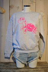 TUR TL Turtle Sweater - Ash grey- Neon Pink