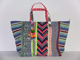 Luxe multi color shopper of strandtas blauw