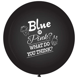 Gender Reveal Giant Zwarte Ballon * Blue or pink what do you think*