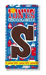 Tony's Chocolonely Chocoladeletter reep - puur