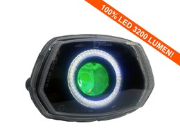 Led Angel/Devil Eye 90mm groen 3200 Lumen koplamp unit Vespa Sprint wit