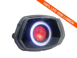 Led Angel/Devil Eye 90mm rood 3200 Lumen koplamp unit Vespa Sprint wit