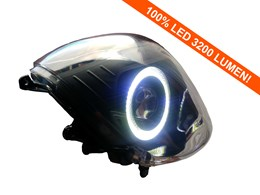 Led Angel Eye 90mm wit 3200 Lumen koplamp unit Piaggio Zip compleet