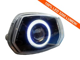 Led Angel Eye 90mm 3200 Lumen koplamp unit Vespa Sprint wit