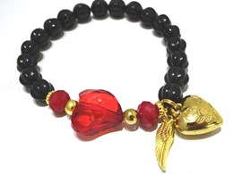 Hearts and wings gold armband